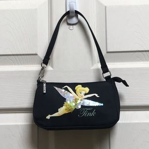 Disney tinker bell sequined black strapped purse